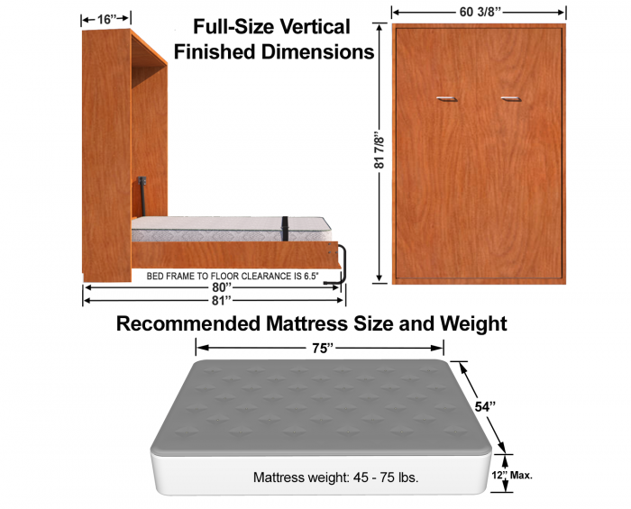 queen-size--sideways-Murphy-bed-dimensions