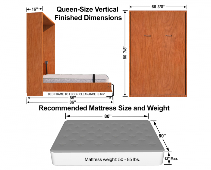 queen size diy murphy bed finished dimensions for cabinet