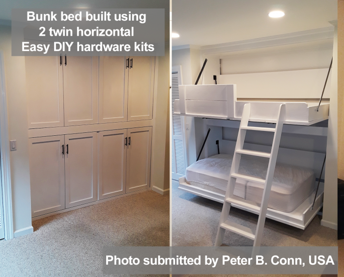 bunk murphy bed built using 2 twin size hardware kits