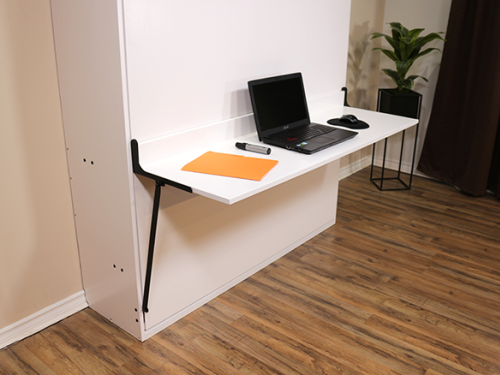 Murphy bed desk with laptop
