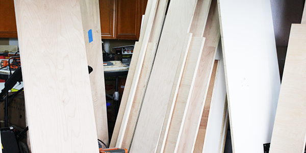 Lumber for wall bed desk in shop