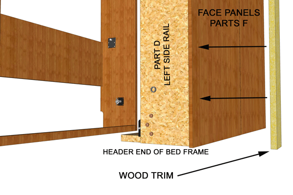 wood trim setup for wall bed