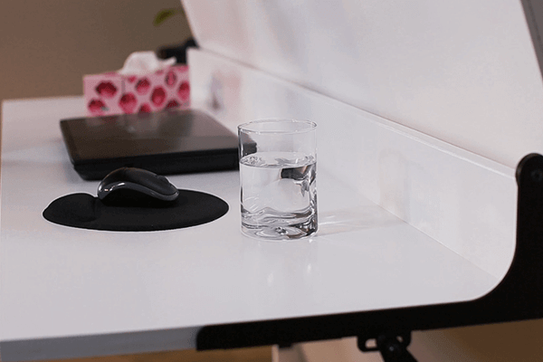 stay level desk for murphy bed with glass of water